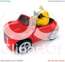 cartoon convertible car clipart of a 3d chubby yellow bird chicken wearing sunglasses and