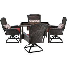 Swivel Outdoor Chair Strathmere 5 Piece Square Dining Set With Four Swivel Rockers
