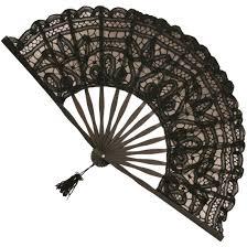 black lace fan battenberg lace fan in black brolliesgalore