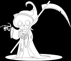 grim reaper with scythe free online coloring page
