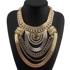 gold chain bib necklace images Wholesale fashion boho style exaggerated multilevel chain jpg