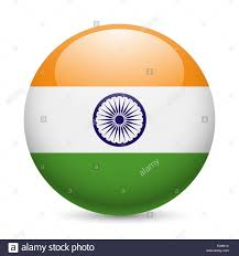 Flag Of Inida Flag Of India As Round Glossy Icon Button With Indian Flag Stock
