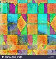 color patterns geometric grunge aging texture art background with different