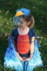 blue bird costume mostly fabric scraps and repurposed clothes