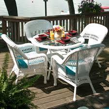 classic coastal avalon wicker 5 piece dining arm chair set