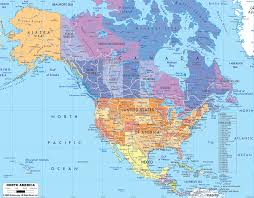 map of mexico canada polical travel inside north america and