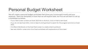 Complete Budget Worksheet Excel Creating A Worksheet And Chart Personal Budget Worksheet We