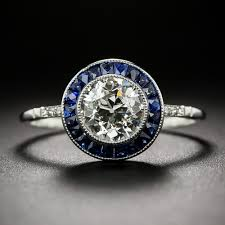 sapphire halo engagement rings 1 22 carat european cut and sapphire halo ring