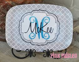 personalized melamine platter monogrammed platter the pink paisley