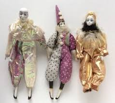 mardi gras jester dolls lot of 3 harlequin porcelain jester doll mardi gras clown dolls 15