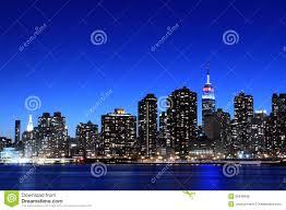 manhattan skyline at night new york city royalty free stock