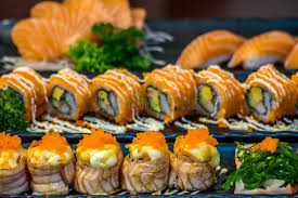 cuisine types japanese food in set different types of sushi stock photo image of