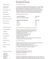 Sample Receptionist Resume by Marvelous Idea Sample Resume For Receptionist 12 Receptionist Cv