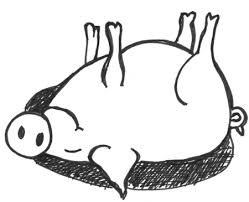 how to draw cartoon pig rolling in the mud sty in easy steps