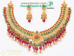 gold diamond emerald necklace images 22k gold uncut diamond with ruby emerald necklace drop jpg