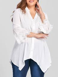 tunic blouse 2018 plus size layered sleeve tunic blouse white xl in plus size