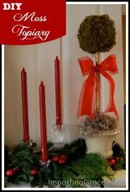 Mantel Topiaries - imparting grace diy moss topiaries