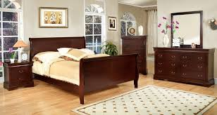 Slay Bed Frames Louis Phillip Iii Cherry Finish Solid Sleigh Bed Frame Intended