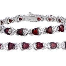 garnet bracelet silver images Sterling silver garnet bracelet 7 ct vir jewels jpg