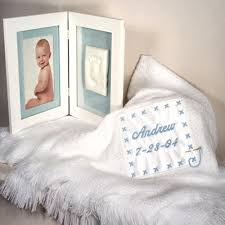 baby customized gifts personalized baby boy gift set blanket footprint frame