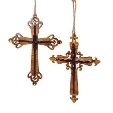 buy club pack of 12 brown wooden carved cross religious