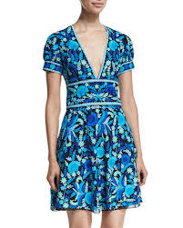 naeem khan short sleeve floral print open back dress blue green multi