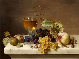 glass of wine fruit still life with greengages a glass of wine grapes peaches