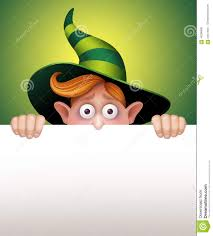 Halloween Banner Clipart by Shy Wizard Boy Hiding Holding Blank Message Card Halloween