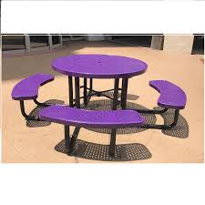 leisure craft picnic tables 46 in round perforated style plastisol metal picnic table available