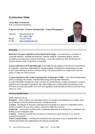 Sample Chemical Engineering Resume by Curriculum Vitae Sample For Chemical Engineer