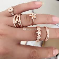 sterling silver ring bracelet images 100 real 925 sterling silver rose gold color dazzling daisy jpg