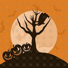 raven sits on tree branch halloween background vector image