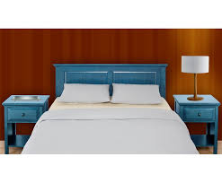 full double queen blue wood headboard cottage style