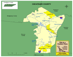 Map Tennessee Cheatham County Tennessee Century Farms