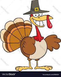 thanksgiving dinner cartoon pics thanksgiving pilgrim turkey bird smiling vector image