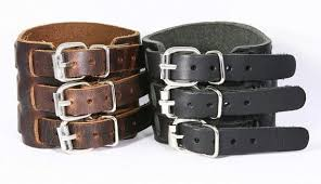 buckle leather bracelet images Three buckle chunky leather cuff triple buckle leather bracelet jpg