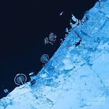 dubai topographic map blue color top view digital art by frank