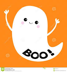 boo text flying ghost spirit happy halloween scary white