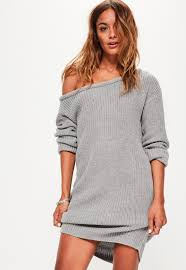 sweater dress gray shoulder knitted sweater dress missguided