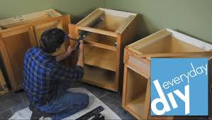 installation kitchen cabinets how to install kitchen cabinets buildipedia diy youtube