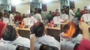 pakistani hair cutting videos video there s a pakistani barber who lights people s hair on fire