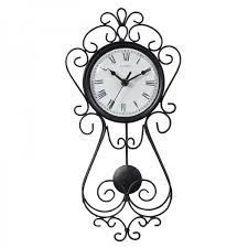 Decorative Metal Wall Clocks 16 5 Inch Wrought Iron Metal Pendulum Clock Chaney