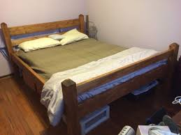 Make Queen Size Platform Bed Frame by Diy Queen Size Platform Bed Frame From 2x6 2x4 Pine And 4x4 Fir