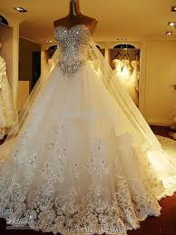 Wedding Dress With Train Luxury Crystals Cathedral Train Wedding Dress Ball Gown Sweetheart