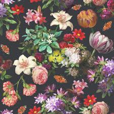 brigitte black floral wallpaper departments diy at b u0026q