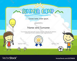 kids summer camp certificate document template vector image