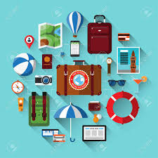 travel background with icons of tourism vacation planning