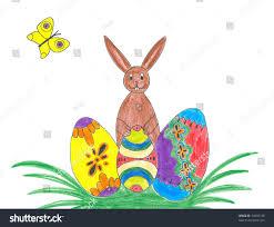easter bunny easter eggs on grass stock illustration 74002198