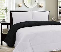 Home Classics Reversible Down Alternative Comforter Down Alternative Reversible Comforter White Black Blowoutbedding Com