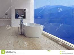 Freistehende Badewanne Freistehende Badewanne Mit Einem Bergblick Stock Abbildung Bild
